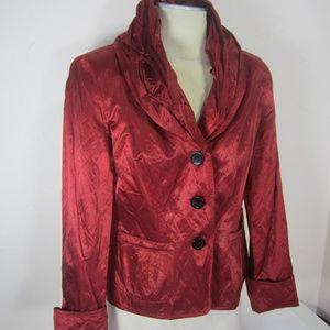 Joseph Ribkoff Womens 10 Red Satin Cocktail Jacket